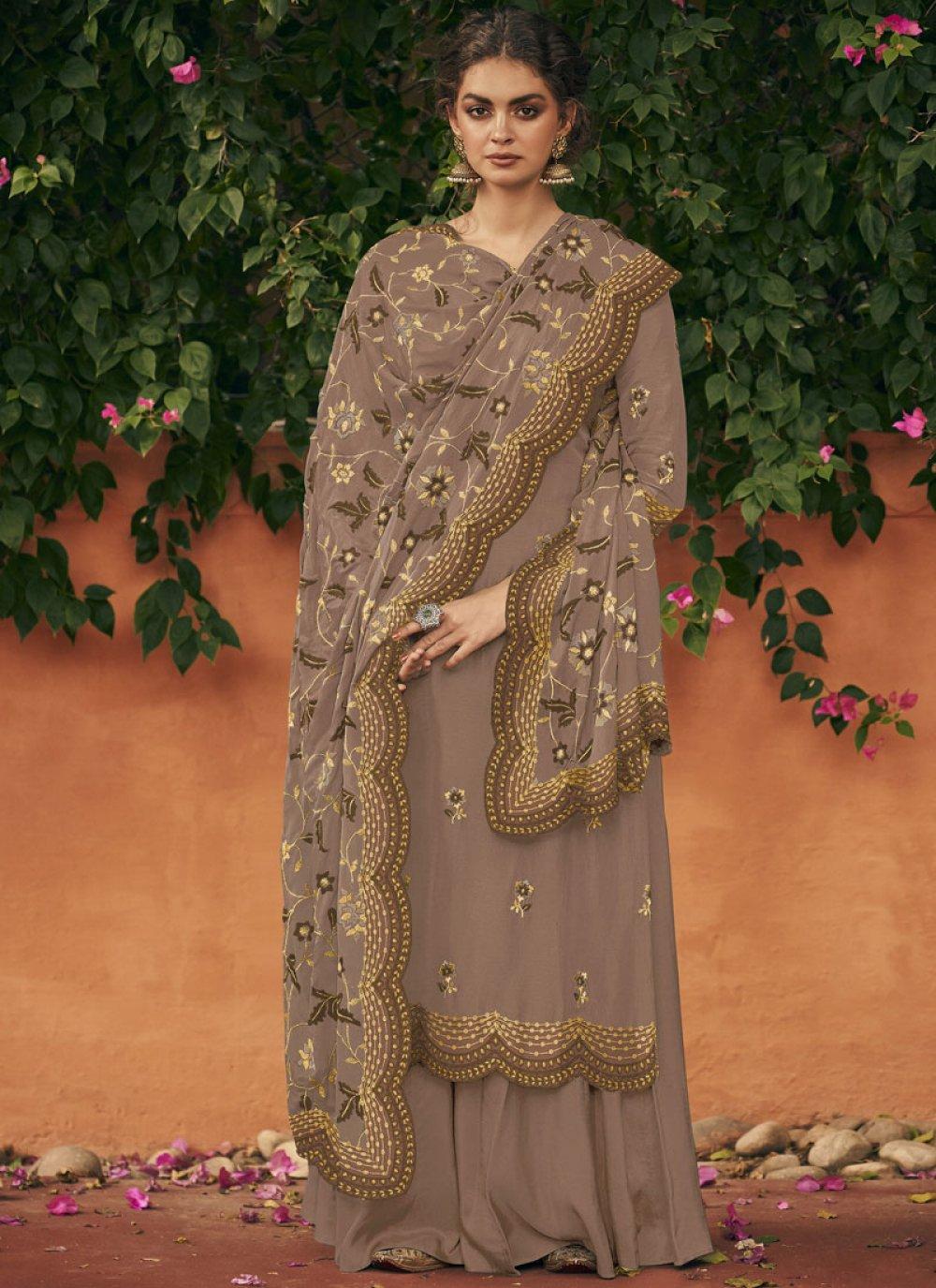 Art Silk Brown Embroidered Salwar Suit