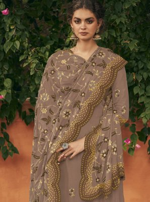 Art Silk Brown Embroidered Salwar Suit