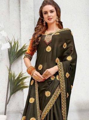 Art Silk Brown Zari Classic Saree