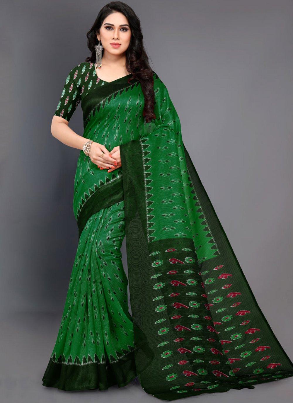Art Silk Casual Saree in Green