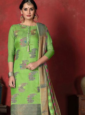 Art Silk Churidar Designer Suit in Green