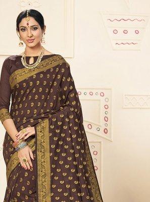 Art Silk Classic Designer Saree in Brown