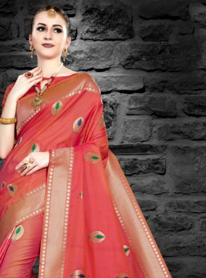 Art Silk Classic Designer Saree in Orange