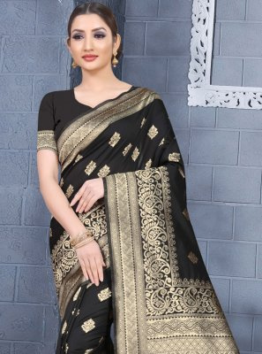 Art Silk Classic Saree in Black