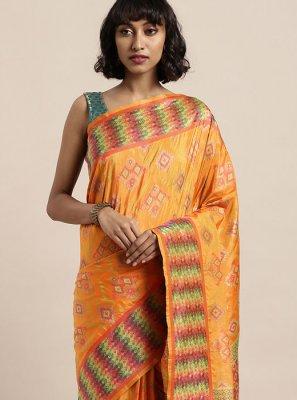 Art Silk Classic Saree in Orange