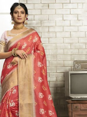 Art Silk Classic Saree in Red