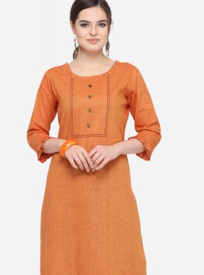 Art Silk Cotton Plain Orange Party Wear Kurti