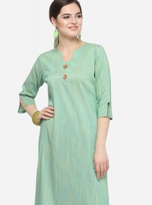 Art Silk Cotton Plain Party Wear Kurti in Teal