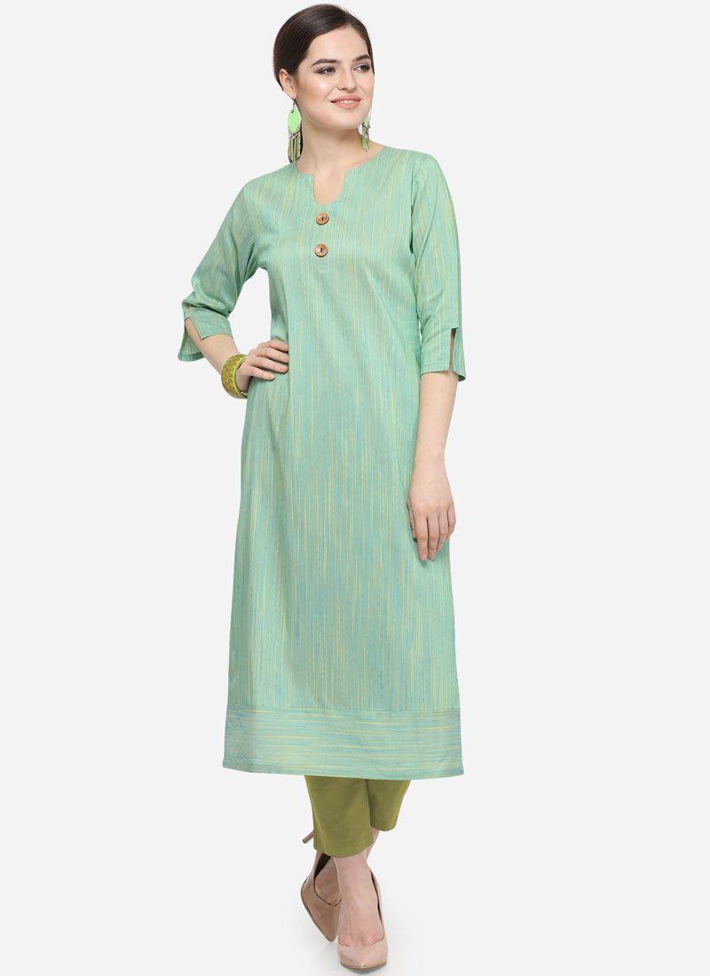 Art Silk Cotton Plain Party Wear Kurti in Teal