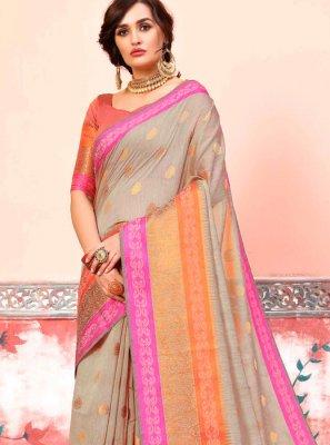 Art Silk Cotton Weaving Brown Designer Traditional Saree