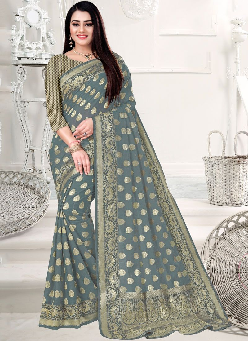 Art Silk Cotton Weaving Grey Designer Saree