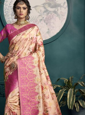 Art Silk Cream and Pink Designer Saree