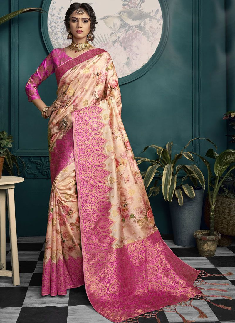 Art Silk Cream and Pink Designer Saree