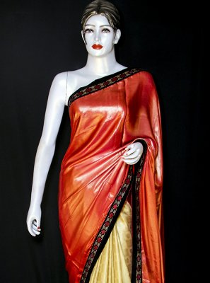 Art Silk Cream and Red Embroidered Designer Saree