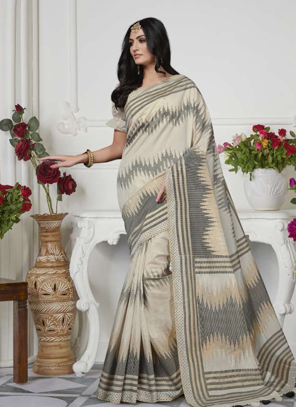 Art Silk Cream Classic Saree
