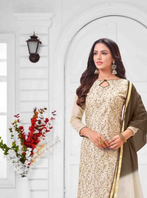 Art Silk Cream Salwar Suit