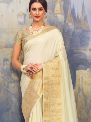 Art Silk Cream Traditional Designer Saree