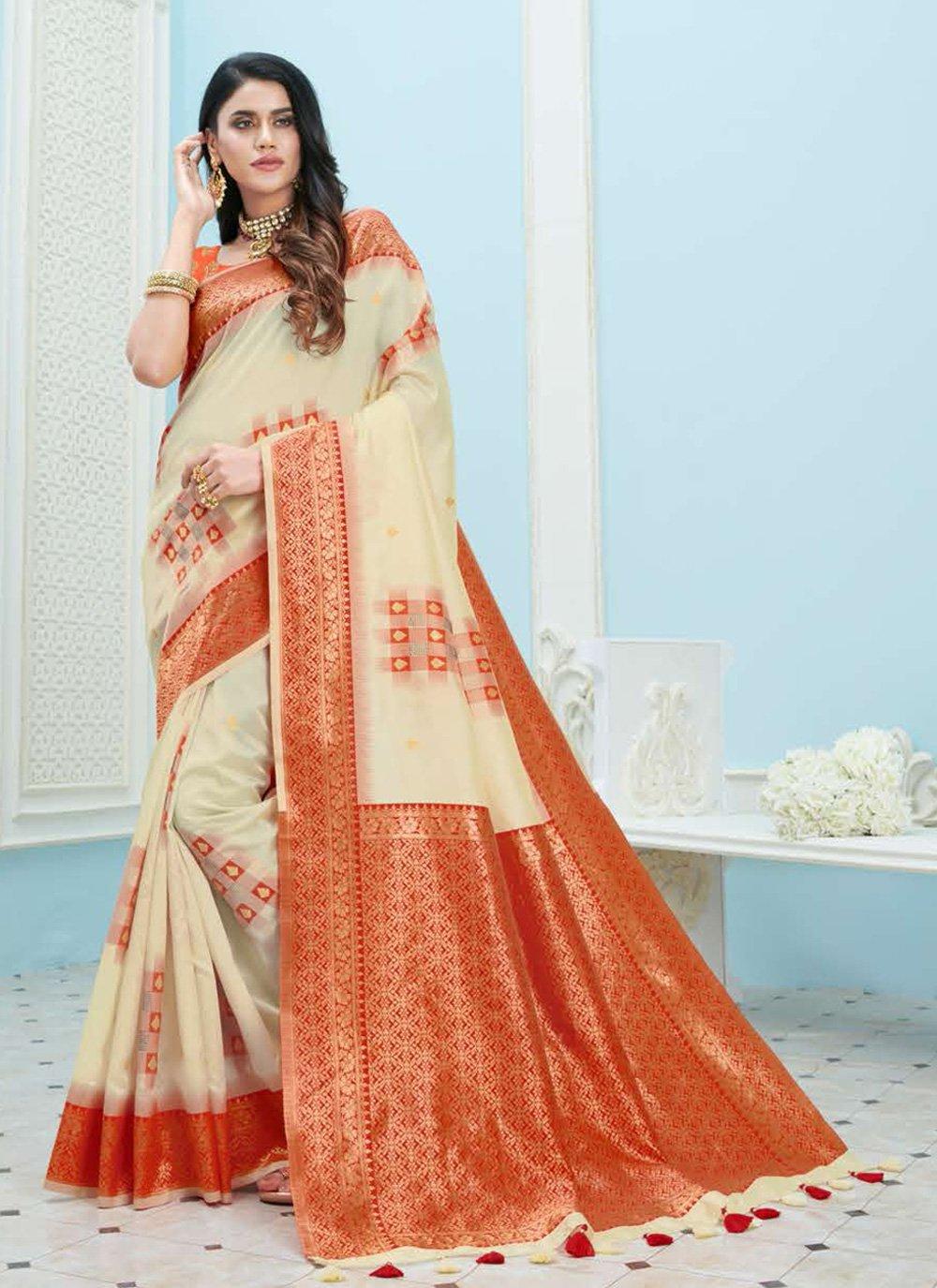 Art Silk Cream Weaving Designer Saree