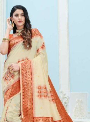 Art Silk Cream Weaving Designer Saree