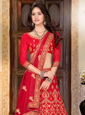 Art Silk Designer A Line Lehenga Choli in Red