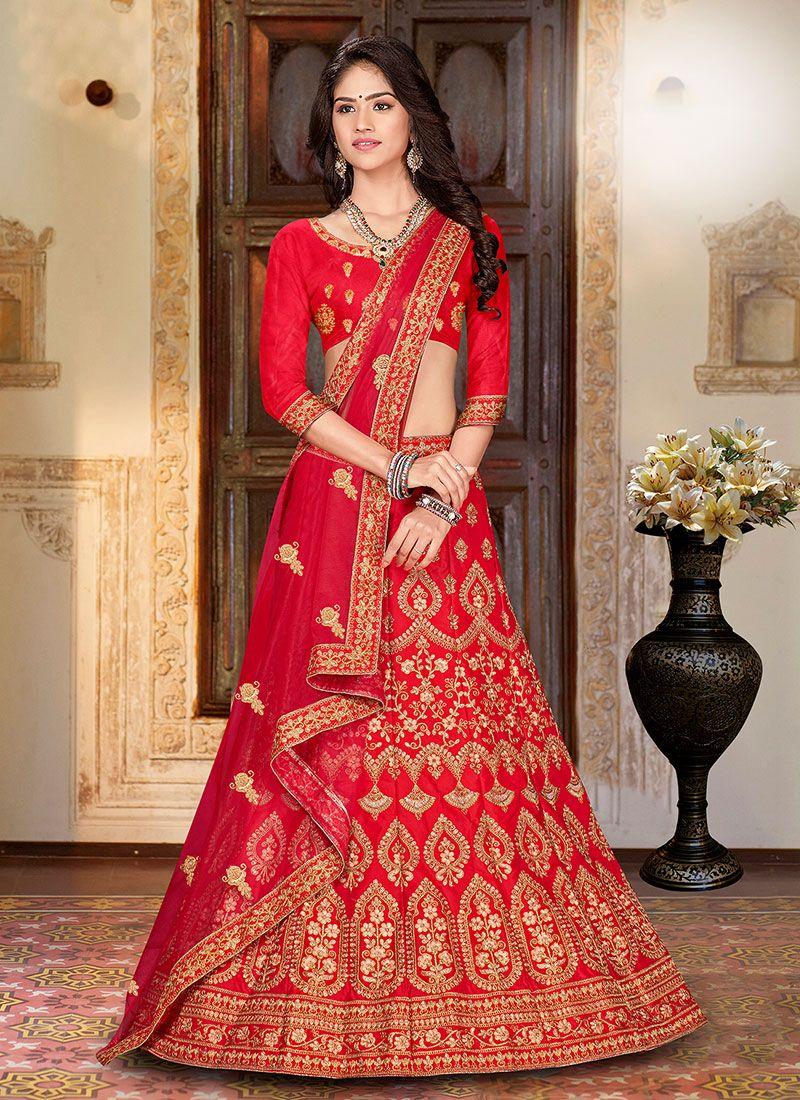 Art Silk Designer A Line Lehenga Choli in Red