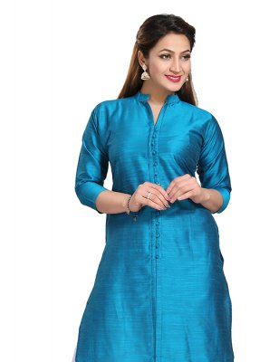Art Silk Designer Kurti in Blue