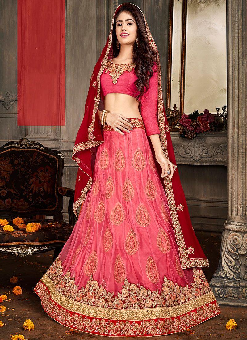 Art Silk Designer Lehenga Choli in Hot Pink