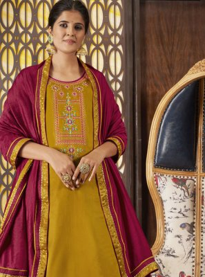 Art Silk Designer Long Lehenga Choli in Mustard