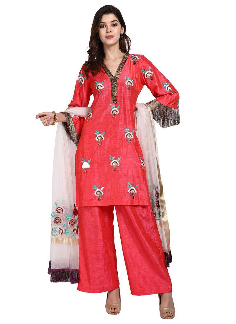 Art Silk Designer Pakistani Salwar Suit in Pink