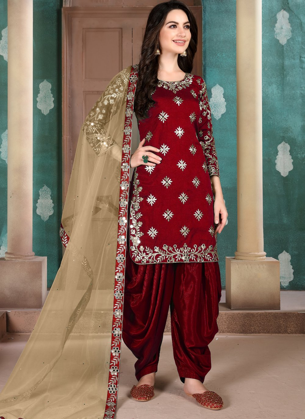 Art Silk Designer Patiala Suit