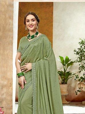Art Silk Designer Saree in Green