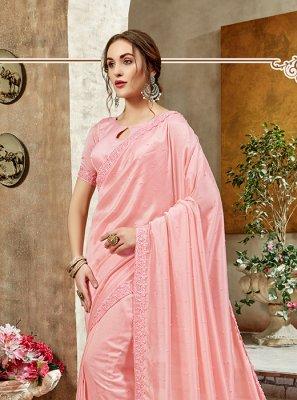 Art Silk Designer Saree in Pink