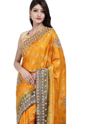 Art Silk Designer Saree in Yellow