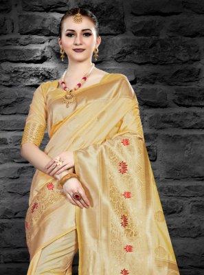Art Silk Designer Saree in Yellow