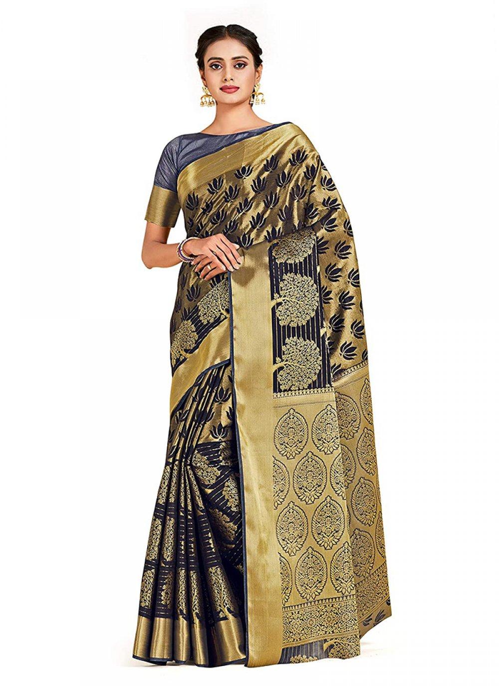 Art Silk Designer Traditional Saree in Black