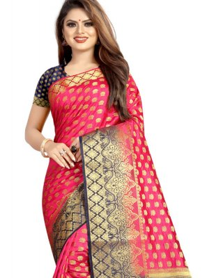 Art Silk Designer Traditional Saree in Rose Pink