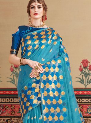 Art Silk Designer Traditional Saree in Turquoise