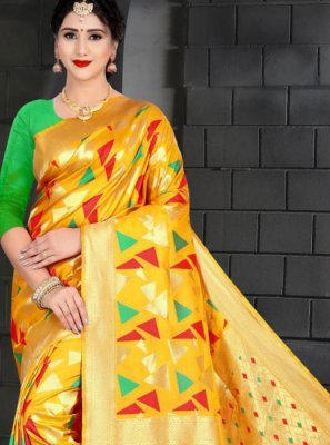 Art Silk Designer Traditional Saree in Yellow