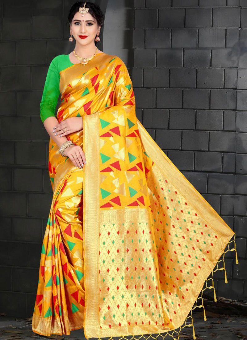 Art Silk Designer Traditional Saree in Yellow