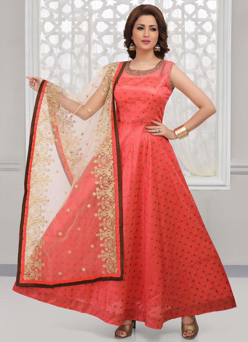 Art Silk Desinger Anarkali Salwar Suit in Red