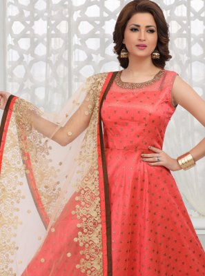 Art Silk Desinger Anarkali Salwar Suit in Red
