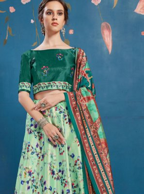 Art Silk Digital Print Green Lehenga Choli