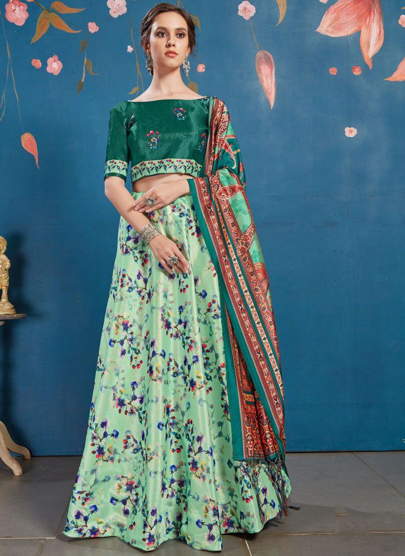 Art Silk Digital Print Green Lehenga Choli