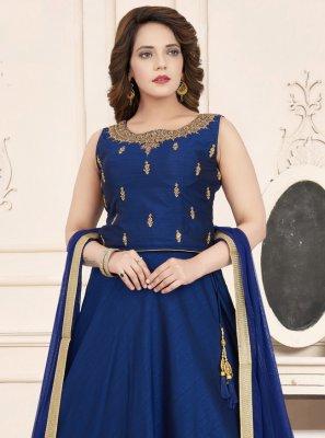 Art Silk Embroidered Blue Salwar Suit