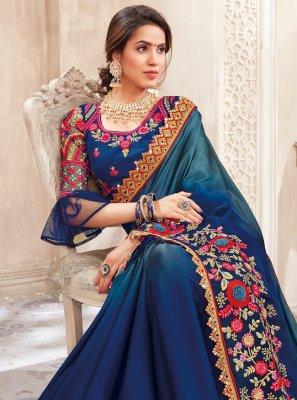 Art Silk Embroidered Blue Saree