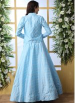 Art Silk Embroidered Blue Trendy A Line Lehenga Choli