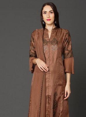 Art Silk Embroidered Brown Pakistani Salwar Kameez