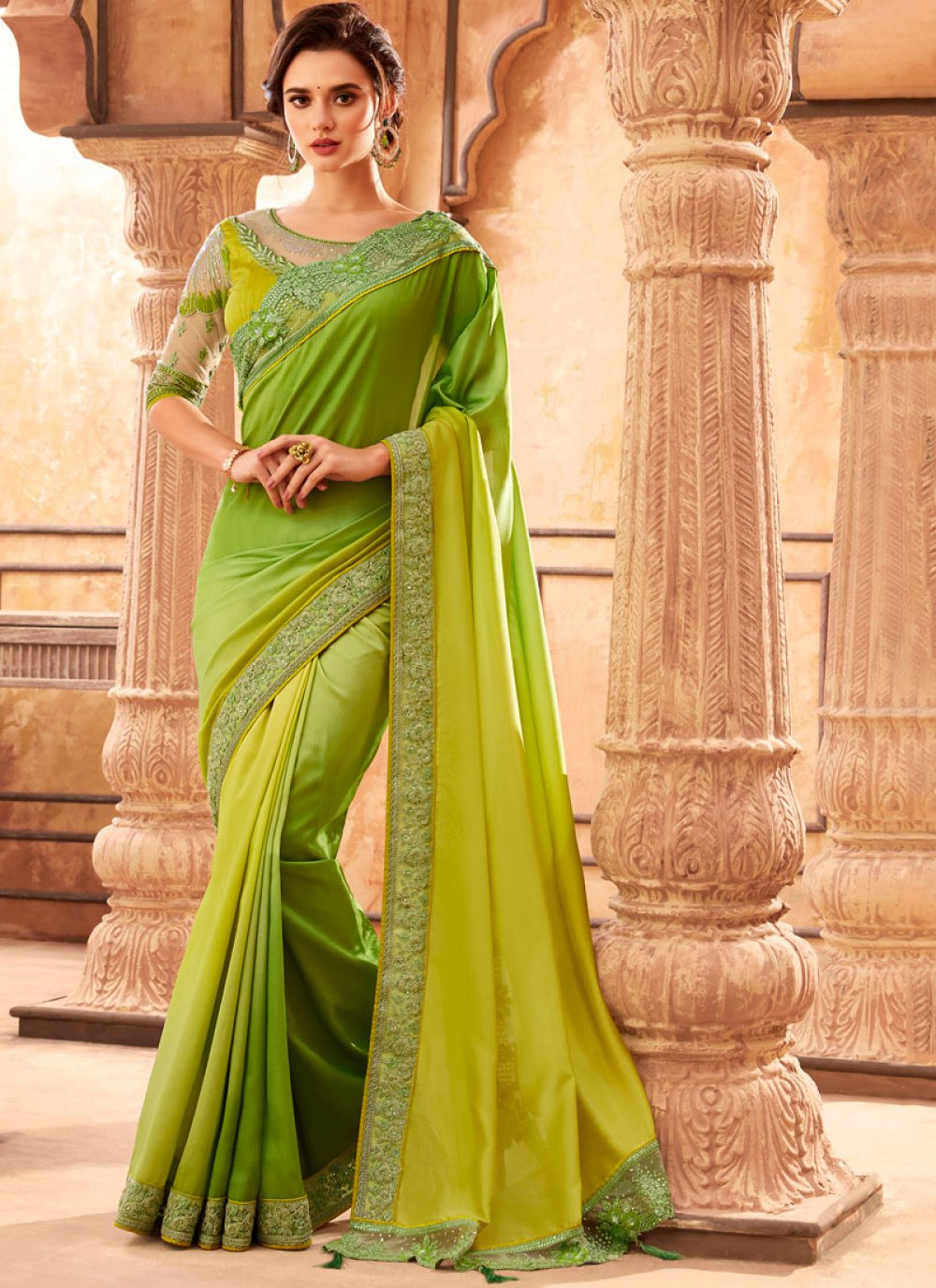 Art Silk Embroidered Classic Designer Saree in Green
