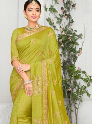 Art Silk Embroidered Classic Saree in Green