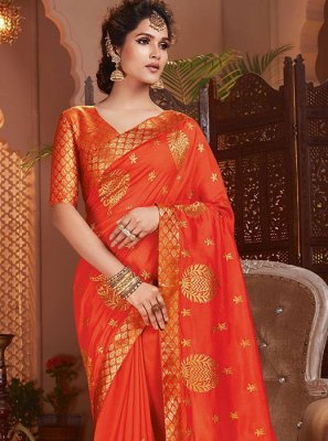 Art Silk Embroidered Classic Saree in Orange
